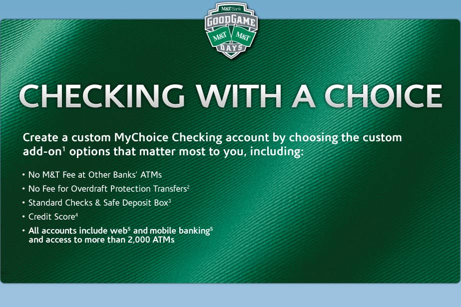 M&T Bank: Checking with a Choice — Create a custom checking account
